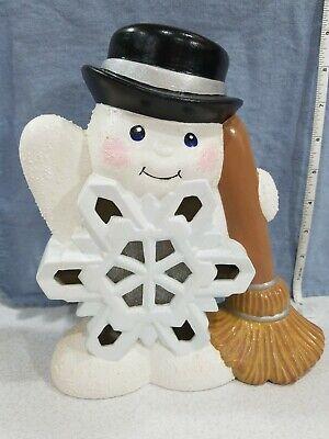 "Vintage Ceramic Snowman Light Up 8.5"" Christmas Winter Lamp Snowflake Frosty"