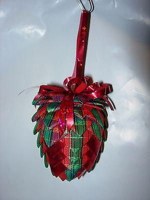 Pine Cone Christmas Tree Ornaments (CHRISTMAS TREE ORNAMENT HOLIDAY DECOR PINE CONE RED GREEN HANDMADE)