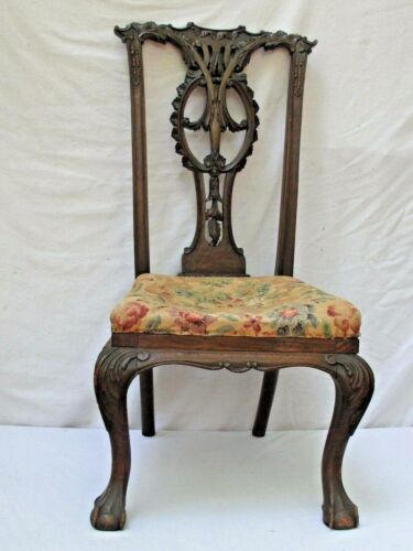 Antique 18th c. Welsh Carved Wood Side Chair c.1760 - 1780