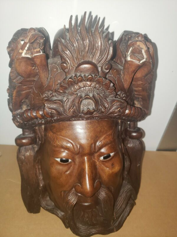 Antique Hand Carved Chinese Tibetan Emperor Drangon Mask