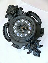 20 Large Antique French Black Forest Carved Wood plaster LION Wall Clock 19TH