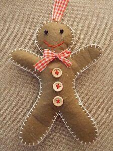 Fab Gingerbread Man handcrafted felt Christmas tree decoration shabby chic