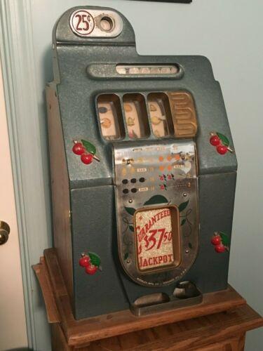Buckley 25 Cent Mechanical Slot Machine Antique Quarter