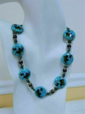 TURQUOISE/ PEARL/ PORCELAIN/ 925 STERLING SILVER NECKLACE & EARRINGS SETS