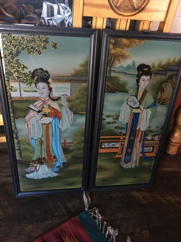 Vintage Asian Oriental Reverse Paintings On Glass (lot of 2)