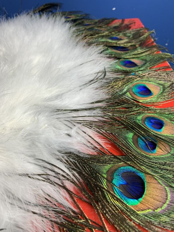 Real Feather White Peacock Hand FAN