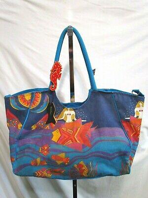 - Laurel Burch Extra Large Multi-Color Mermaids, Fish Beach Shoulder Tote Bag