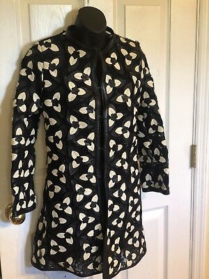 Caban Romantic Trefoil Coat Made In Italy Leather Lace Long  Sz XS/S $1250 for sale  Mason