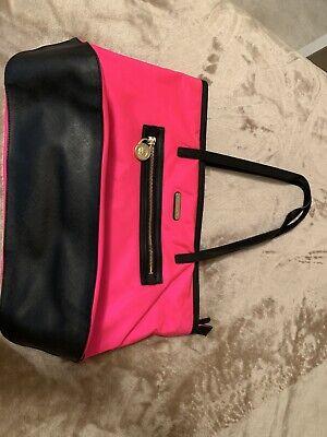 MICHAEL KORS KEMPTON Pink  Nylon Blk Leather Tote HandBag Shoulder Purse