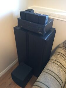 Yamaha home theatre system and JVC floor speakers