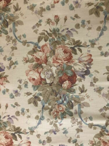 "Bennison ""Roses"" Fabric Yardage in Faded Brown on Beige"