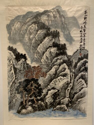 Antique Chinese Watercolor on Paper Landscape Scroll Painting