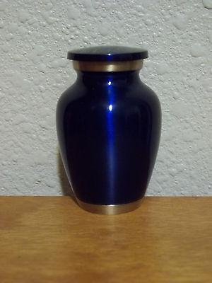 """Pretty Dark Rich Blue Solid Brass Keepsake Token Mini Urn w/Velvet Bag~2 5/8"""""""