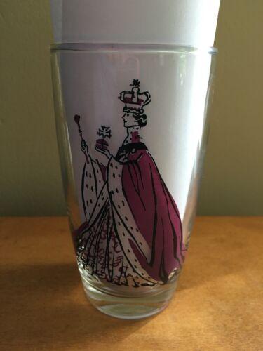 Vintage 1953 Queen Elizabeth - Coronation Year Drinking Glass - Purple & Black
