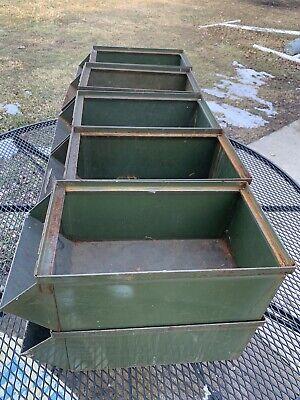 Lot Of 10 Vintage Green Industrial Metal Storage Bin Stackbins Rusty 15 X 8 X 6