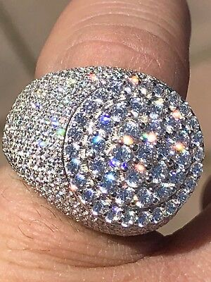 Mens Large Round Solid 925 Silver 10Ct Diamond Pinkie Pinky Ring Icy Hip Hop