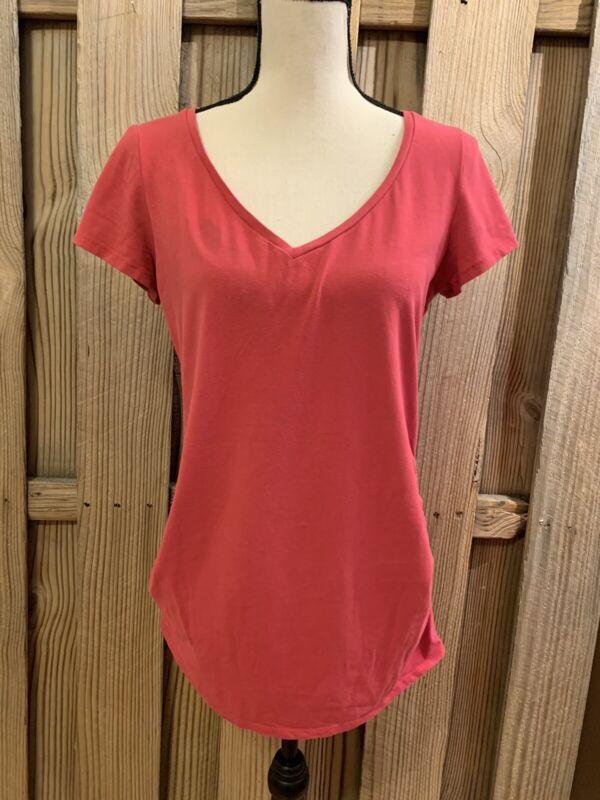 Bumpstart Motherhood Maternity Short Sleeve Shirt Vneck Coral Pink M Ruched Side