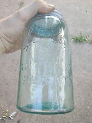 Vintage ATLAS MASON'S Patent arched Antique Canning Fruit Jar Collectible AQUA