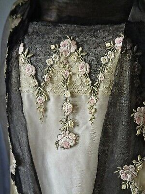 BEST EVER Antique Edwardian Tea Dress Embroidered  Roses Net Silk Sash &