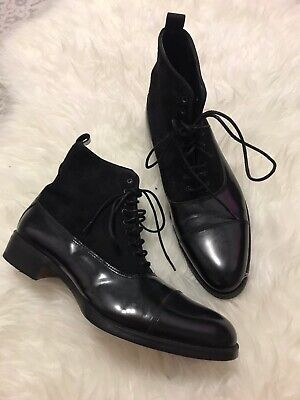 Zara Men Patent Leather Suede Boots Classic 41 Usa 8