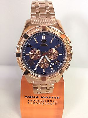 Men Aqua Master Jojo Jojino Joe Rodeo Rose Metal Band 48Mm Diamond Watch W 348