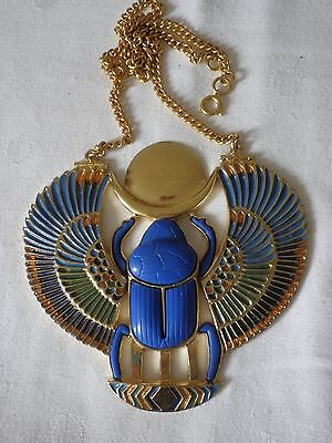 Vintage 1970s Large Enamel Scarab Pendant Designed By Thomas Fattorini