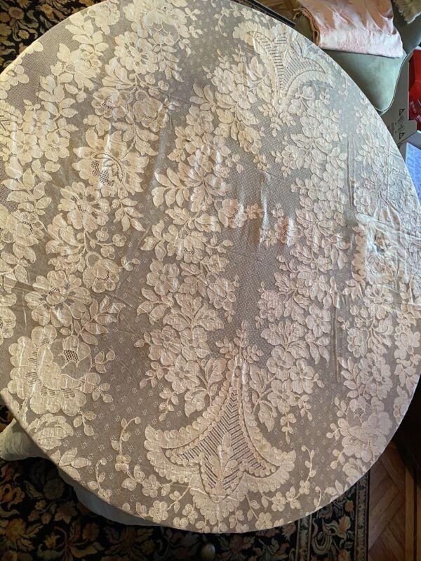 Vintage French Alencon Lace Tablecloth Estate Of Baron Von Waldeck