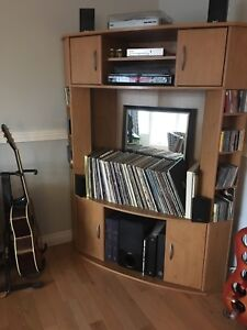 Corner TV stand and entertainment unit (Vinyl not included)