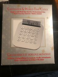 Collapsible World Time Travel Clock Alarm, Calendar & Calculator New In Box