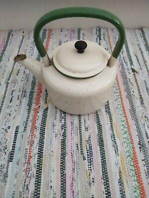 Vintage Cream and Green Enamel Ware Kettle Teapot