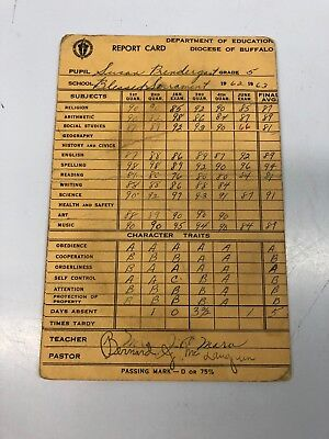 Vintage Report Card Dept. of Education Diocese of Buffalo 1962-63