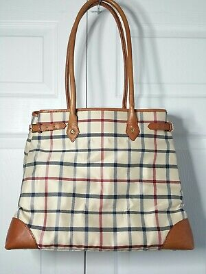 brooks brothers plaid beige brown genuine leather trim large tote bag carry all