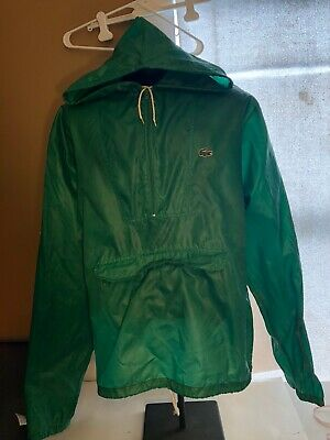 Vtg Izod Lacoste Mens XL Windbreaker Pullover Rain Jacket Green Gator Flaws