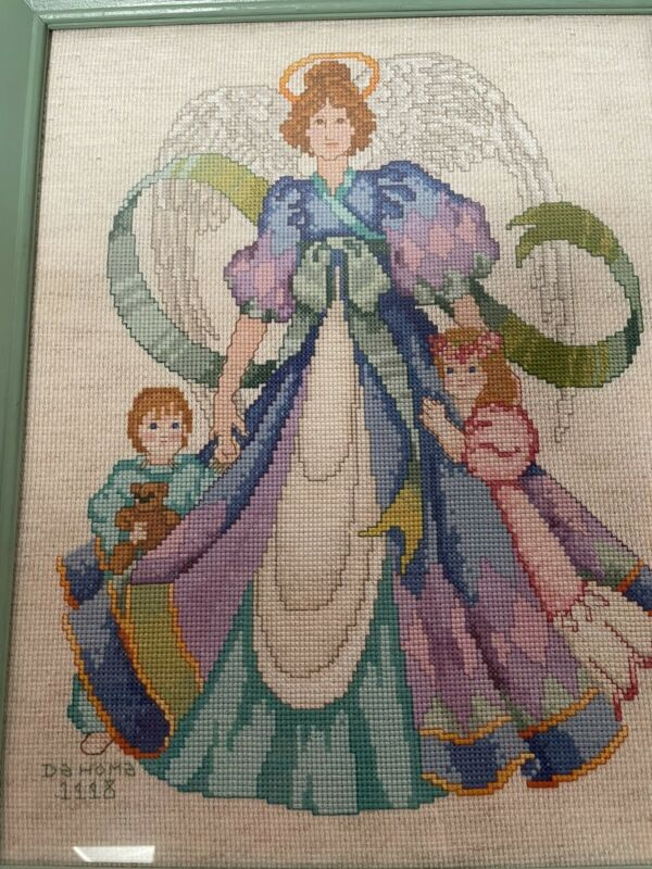 Vintage 1998 Completed Cross Stitch Angel W/children Signed  11 x 14 Beautiful!
