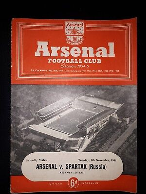 Arsenal v Spartak (Russia) Friendly Programme 09/11/54