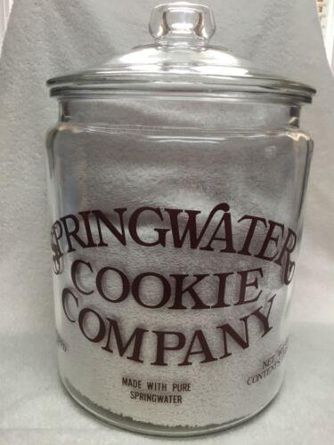 Vintage Springwater Cookie Company Large Counter Top Store Display Jar