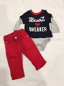Baby Gap Onsie and Red Jeans. Size 6-12 months.