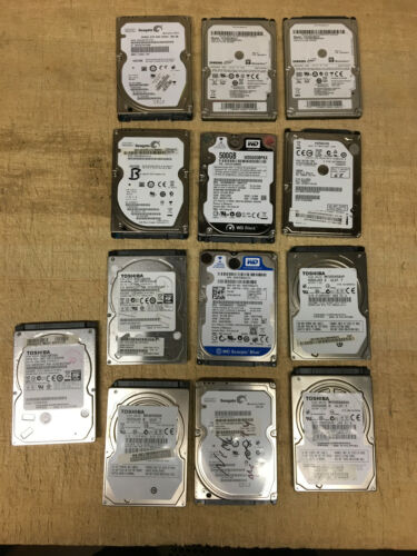 Lot of 13 Name Brand 500GB Laptop SATA HDD Wiped and Tested