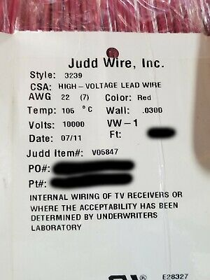 New Judd Wire 22awg Ul-3239 High Voltage Hook-uplead Wire 10kvdc 10000v Red