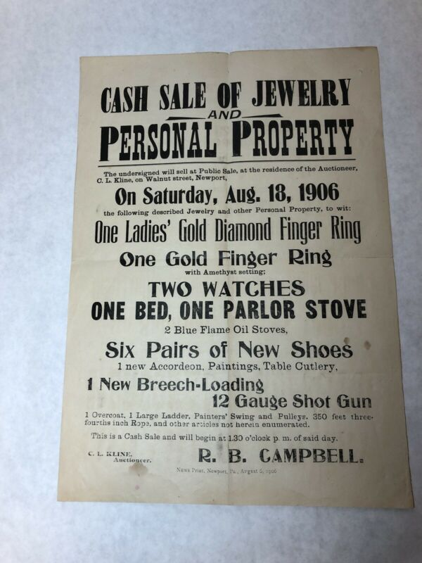 1906 Cash Sale Antique Poster PA History R B Campbell Walnut Street Newport