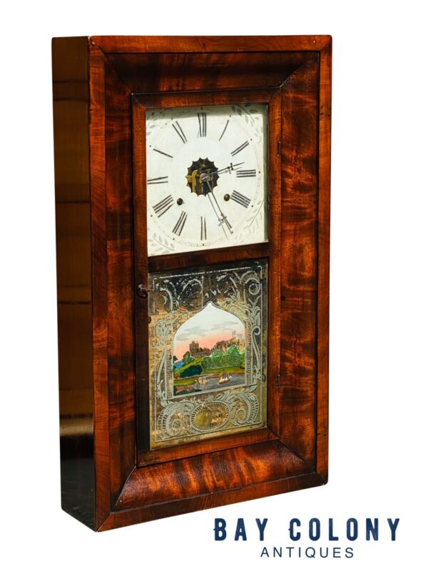 19TH C ANTIQUE EMPIRE MAHOGANY TERHUNE & EDWARDS MANTLE / SHELF CLOCK