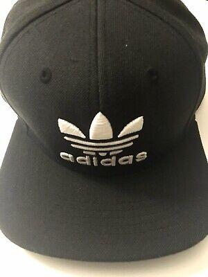 adidas Logo Hat Cap Snapback Black White Great Shape