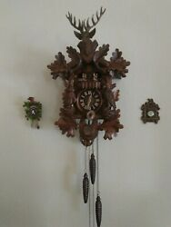 Anton Schneider Black Forest Hunter 8-Day Cuckoo Clock Elk Buck Dancers Music