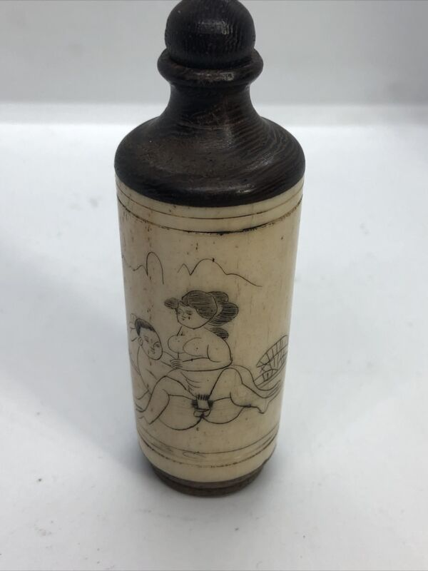Chinese Wood and Bone Erotica Scent / Snuff Bottle