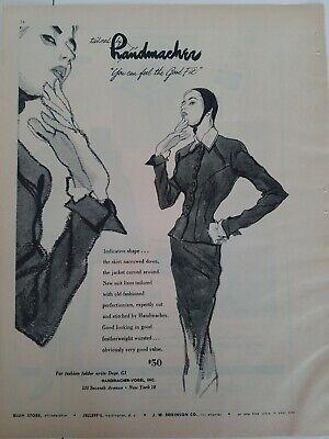 1948 women's Handmacher suit fashion illustration art vintage ad