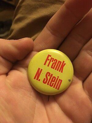 Vintage pin FRANK N. STEIN pinback MONSTER Scientist Inventor pun button