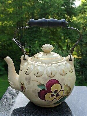 Antique Georgian English Porcelain Teapot Trivet Hand Painted Landscape Circa 1805 Davenport Attributed Impressed Mark Romantic Period