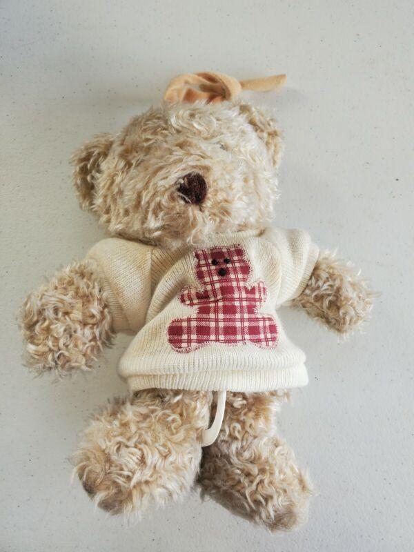 1996 Kids II TEDDY BEAR Crib Pull Musical Plush Flag Baby BEAUTIFUL DREAMER
