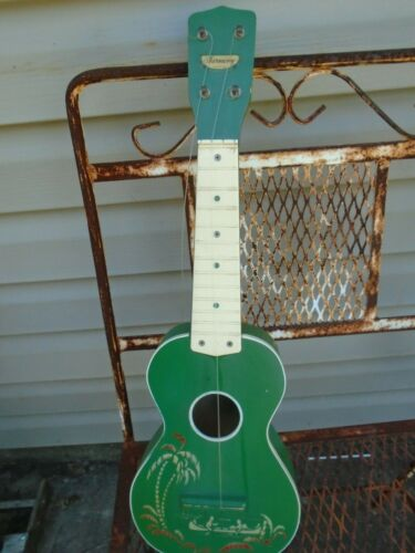 Vintage Ukulele Harmony Soprano Hawaiian stencil Green red canoe highlight