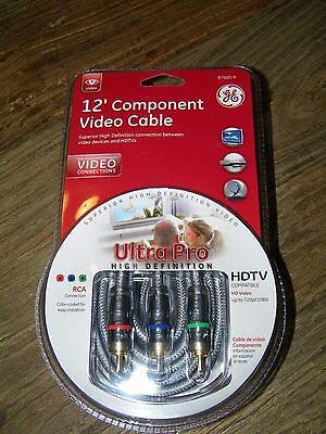 General Electric Jasco 12' Component Video Cable Ultra Pro High Definition 3 RCA